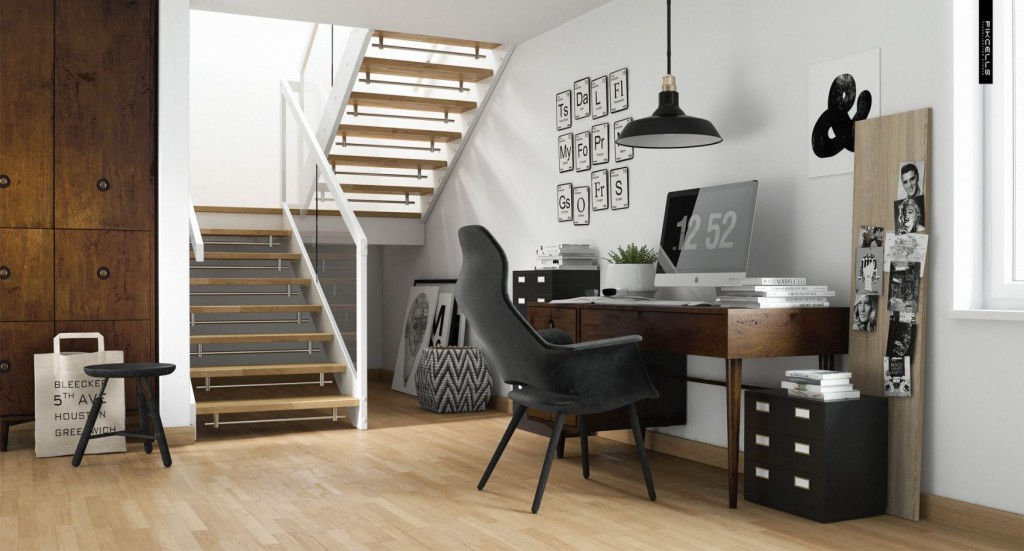 Scandinavian home office. By Pikcells Visualisation Studio